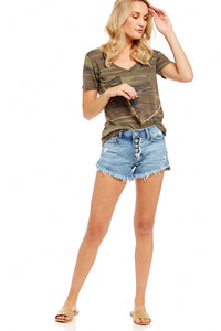 JUST USA BUTTON DOWN UNBALANCED HEM SHORTS