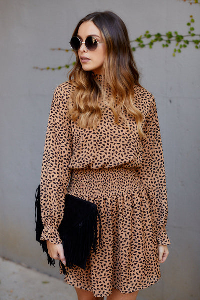 fab'rik - Harlee Smocked Waist Animal Print Dress image thumbnail