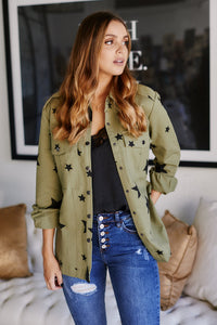 Alys Star Print Army Jacket
