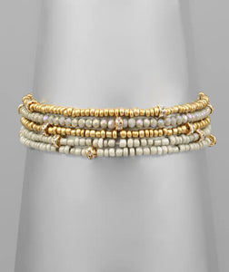 Laurel Beaded Stack Bracelet