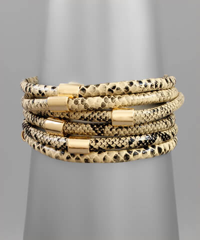 Birch Snakeskin Stacked Bracelet