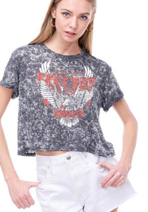"PreOrder ""Free Bird"" Acid Wash Cropped Graphic Tee"