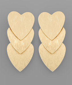 Three Heart Earrings