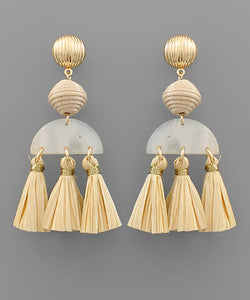 Evie Raffia Tassel Earrings
