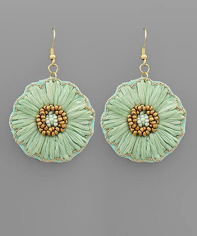 Isabella Raffia Floral Earrings