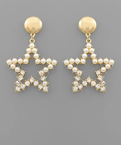 Poppy Pearl Star Earrings