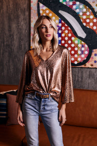 Karine Metallic Flare Sleeve Top