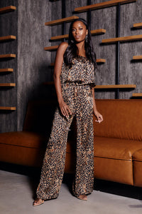 Storme Animal Print Strapless Jumpsuit