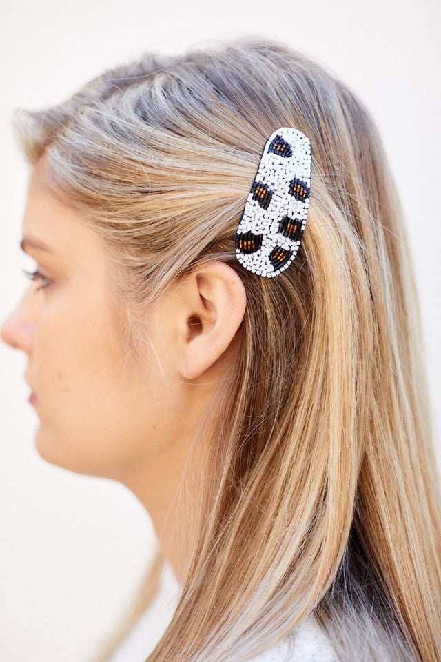 Kaylee Leopard Beaded Hair Clip