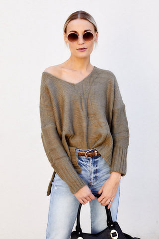 Lena Side Slit Ribbed Hem Sweater