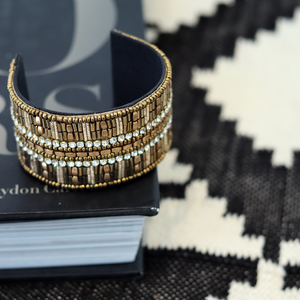 SALE - Mable Beaded Wide Cuff