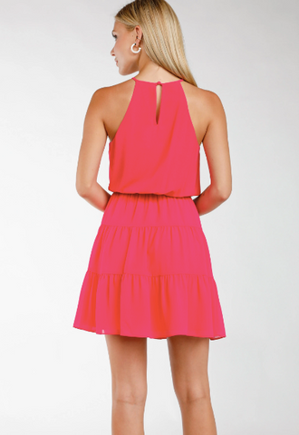 PreOrder Emily High Neck Tiered Mini Dress