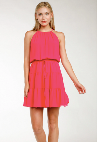Emily High Neck Tiered Mini Dress