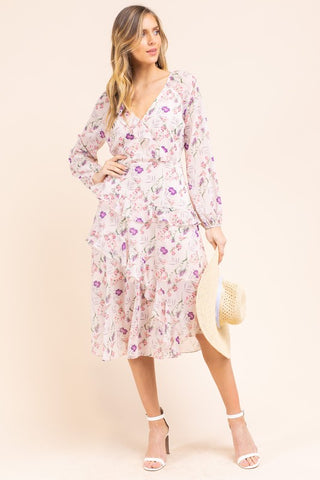 PreOrder Waverly Floral Ruffle Midi Dress