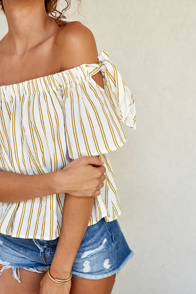 MALIA OFF SHOULDER STRIPE TOP