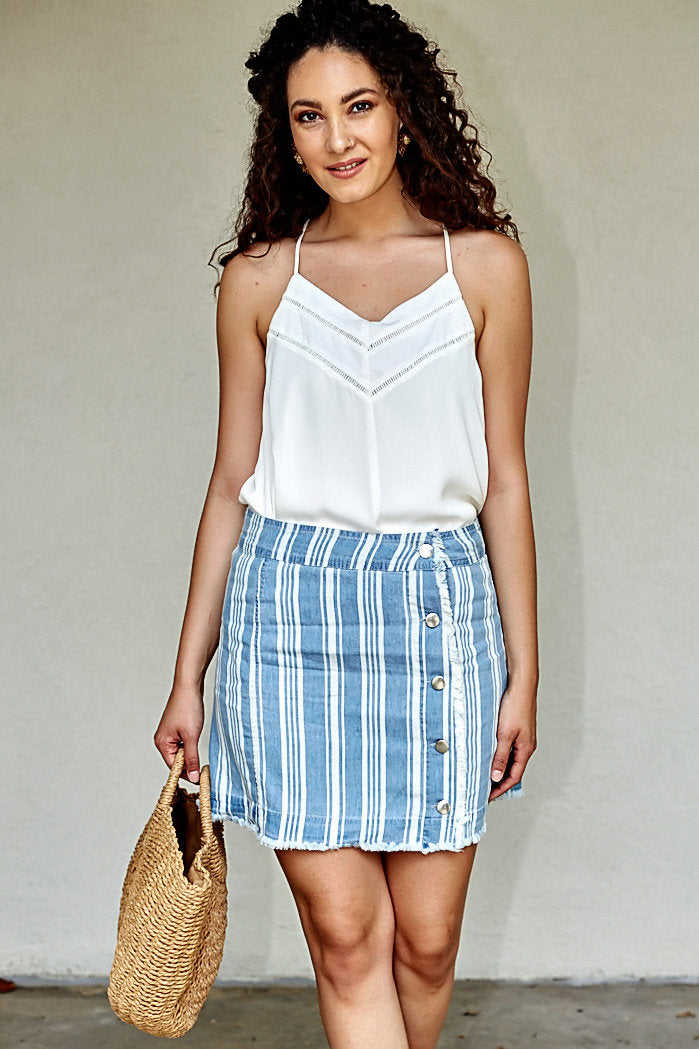 fab'rik - JACK BY BB DAKOTA IVANNA STRIPED CHAMBRAY SKIRT ProductImage-4619058577466
