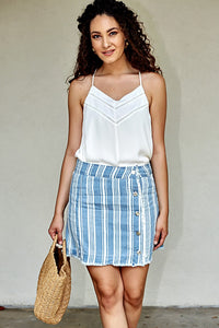 JACK BY BB DAKOTA IVANNA STRIPED CHAMBRAY SKIRT