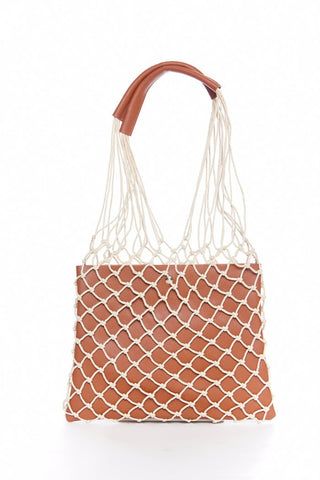 Bellen Fuax Leather Netted Handbag