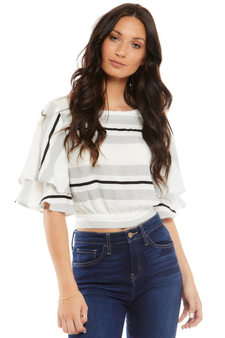 ALICE STRIPED DRAPED SLEEVE TOP