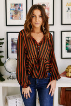 Load image into Gallery viewer, Catherine Striped Peplum Top
