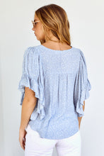 Load image into Gallery viewer, Carmen Printed Ruffle Sleeve Blouse