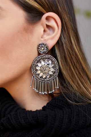Elena Jeweled Disk Earrings