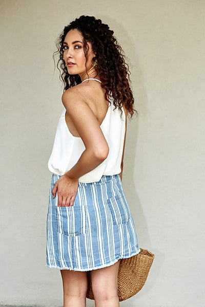 fab'rik - JACK BY BB DAKOTA IVANNA STRIPED CHAMBRAY SKIRT image thumbnail