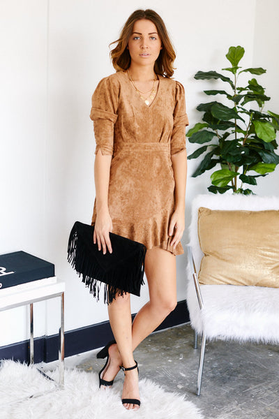 fab'rik - Lane Suede Wrap Dress image thumbnail