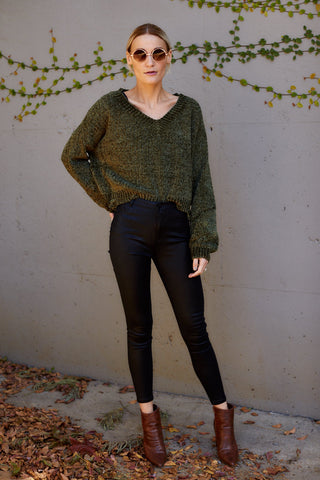 Milly V Neck Chenille Sweater