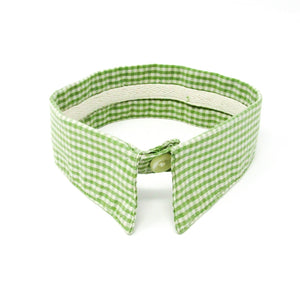 Dog dress shirt collar, plaid, green