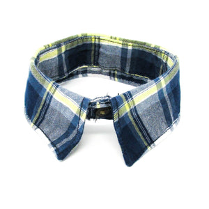 Dog dress shirt collar, plaid, blue
