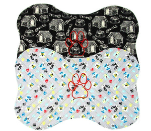 Embroidered Placemat, Red Paw, Grey