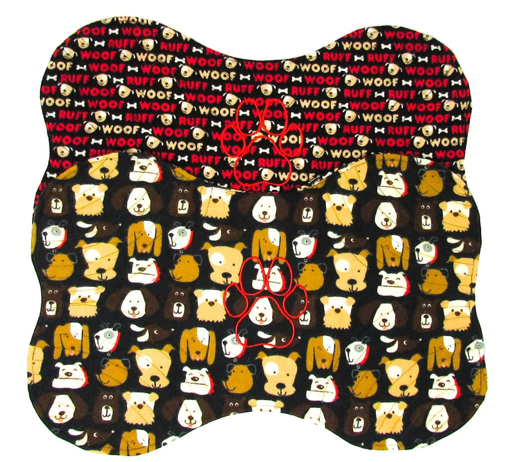 Embroidered Placemat, Red Paw, Black
