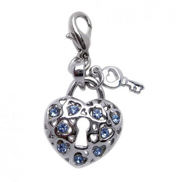 Key To My Heart Charm with BLUE Rhinestones