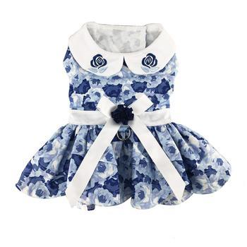Blue Rose Harness Dress with Matching Leash - Coco and Chili's Shop