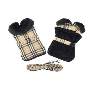 Brown Plaid Classic Dog Coat with Matching Leash - Coco and Chili's Shop