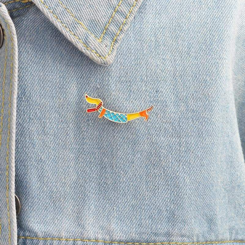 Cartoon Dachshund Enamel Brooch - Coco and Chili's Shop