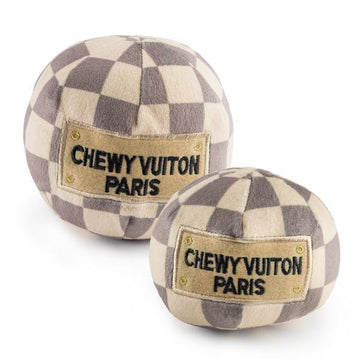 Checker Chewy Vuiton Plush Ball Toy - Coco and Chili's Shop