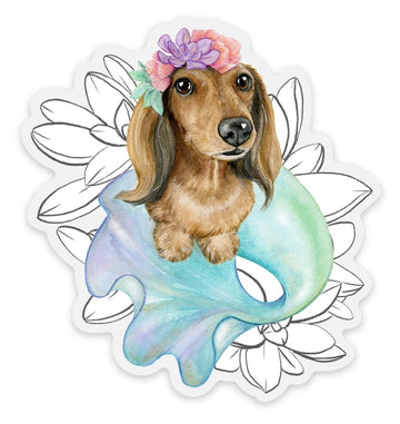 Chili the Magical Merpup with Flowers - Sticker - Coco and Chili's Shop