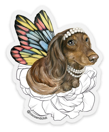 Coco the Delightful Doxiefly with Flowers - Sticker - Coco and Chili's Shop
