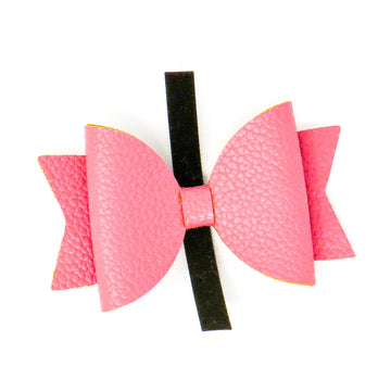 Faux Leather Bow - Dusty Pink - Coco and Chili's Shop