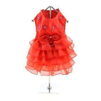 Holiday Dog Dress - Red Satin - Coco and Chili's Shop