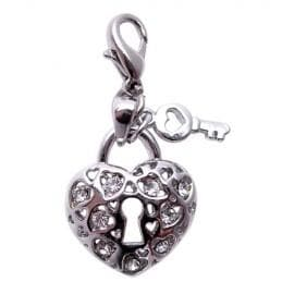 Key To My Heart Charm with CLEAR Rhinestones - Coco and Chili's Shop