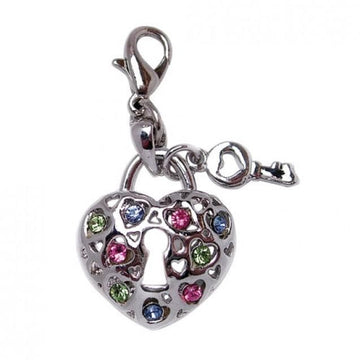Key To My Heart Charm with COLORFUL Rhinestones - Coco and Chili's Shop