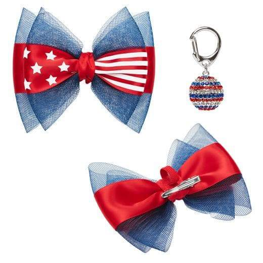 Patriotic Spirit American Flag USA - Bow and Disco Ball Pendant - Coco and Chili's Shop