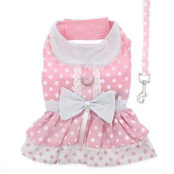 Polka Dot and Lace Dog Dress Set with Leash - Pink - Coco and Chili's Shop