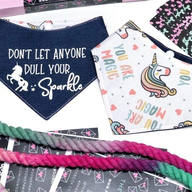 Reversible Bandana - Don't Let Anyone Dull Your Sparkle - Unicorn - Coco and Chili's Shop