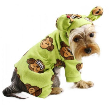 Silly Monkey Fleece Hooded Pajamas - Lime - Coco and Chili's Shop