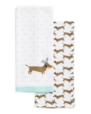 Snuggle Bunny Easter Dachshunds Kitchen Towels - Coco and Chili's Shop