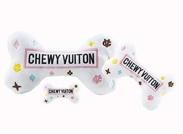 White Chewy Vuiton Bone Toy - Coco and Chili's Shop
